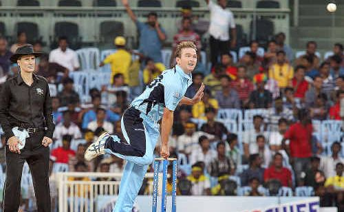 Former Hervey Bay junior Nathan Hauritz bowls for New South Wales against the Cape Cobras from South Africa during their Champions League Twenty20 showdown in Chennai on Saturday. It was the first game the off-spinner had played in eight months.