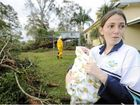 Teoni Huet, with her four-week-old baby Dominic, did not hear the huge tallow wood crash onto their roof in the storm.