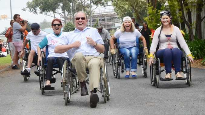 Wheelchair rally with Mark Masi, Maureen Shaw, Andrew Fraser, Denise Knight,  Liz Anscombe at the open day at the Coffs Harbour Community Village.  Photo Leigh Jensen/ Coffs Coast Advocate