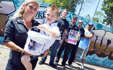 Pure Art Tattoo Studio owner and manager, Megan Fetch with son Joe, 6, will be raising money for seriously ill children with the help of tattoo artists Adam Kidd, Sean Young, Cole Jackson and Delaney Reuben.
