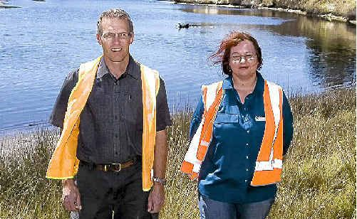 Richmond Valley Council's Mark Hesse and Gillian Marchant (project manager) at Salty Lagoon, which the council has worked hard to rejuvenate.