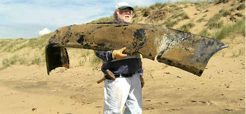Last year conservation volunteer Les Schulze found this massive bumper bar during the clean up.