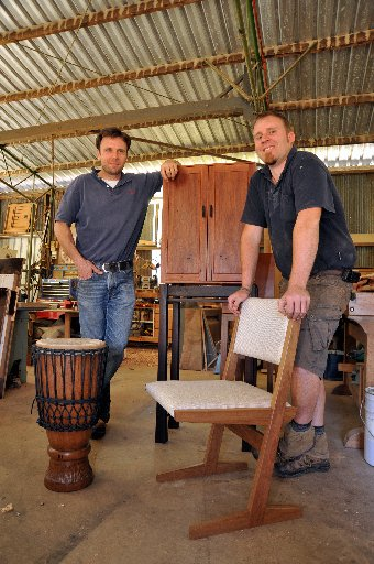 Furniture makers Nick Bailey and Broc Cattley.