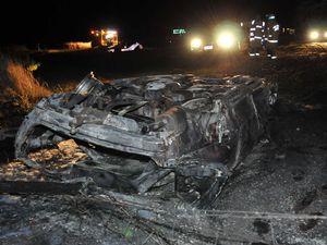 Two escape fiery car crash