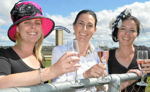 Helena Penny and Melanie Fraser (wearing hats from Classic Dimensions) with Spicer's Canopy general manager Angela Mosedale (centre) are excited about the Warwick Cup.