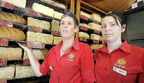 Donna Faulkner (left), owner of Brumby's Bakery in Ballina, with employee Jacinta Moses. Mrs Faulkner is sick of all the shop break-ins in the area.