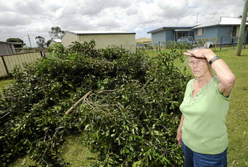 Beverly Bullpit, who has lived in Coraki for a year, was shocked to discover a large amount of storm debris dumped on her front lawn.