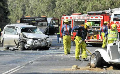 The scene of a fatal car accident north of the Harwood Bridge on Saturday.