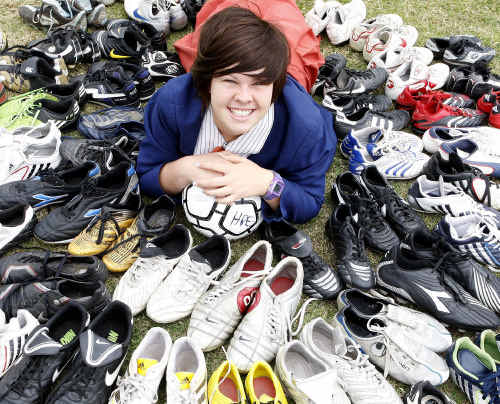 Year 10 student and Ipswich Football Association member Tori-Lee Jackson has collected more than 60 pairs of boots to send to a school in Tanzania.