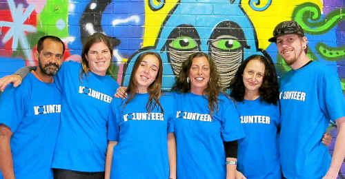 HELPING HAND: Byron Schoolies HUB co-ordinator Nicqui Yazdi (third from right) with volunteers Joey, Bridget, Lily, Tania and Luke.