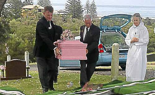 Family and friends of two-year-old Tanilla Warrick-Deaves at her funeral at East Ballina on September 13. Courtesy of Brooke Bowen and Adrian Casaran-Warrick