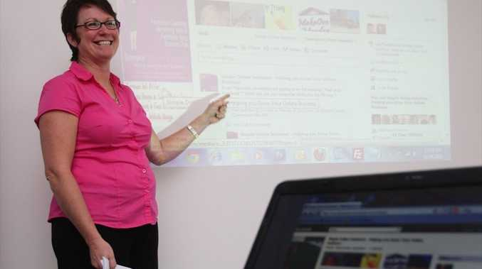 Simple Online Solutions' Donna Hamer running a workshop for businesses about Facebook.