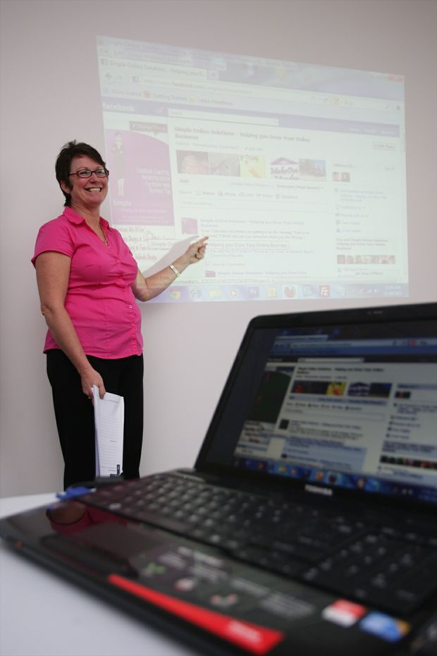Simple Online Solutions' Donna Hamer running a workshop for businesses about Facebook.