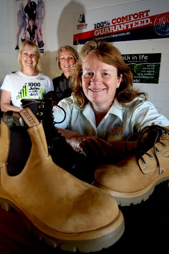 Marilyn Durant of Nortec, Mr Boots owner Adrienne Harrison and new employee Carol Morris.