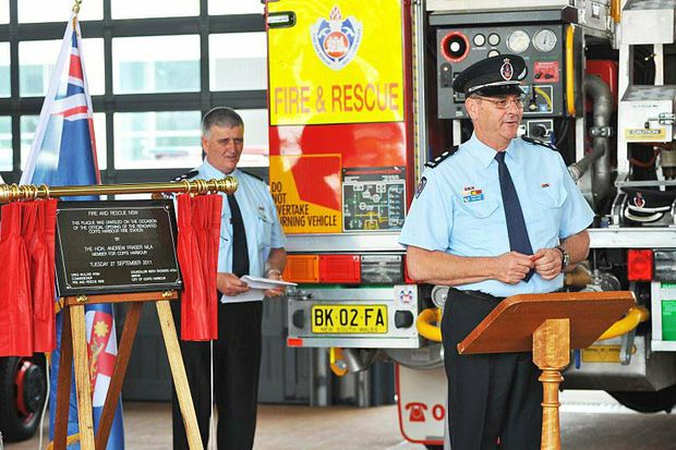 Coffs Harbour Fire Station commander Mark Rose addresses the crowd.