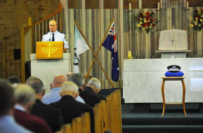 Acting Sergeant Richard Garrels addresses the congregation during National Police Remembrance Day in Coffs Harbour.