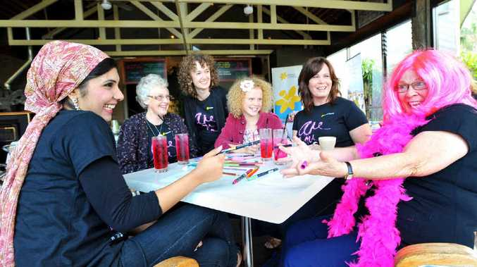 Amna Aslem, Jennifer Lock, Ruth Gollan, Charlotte Bedford, Brenna Smith and Kathy Derrett enjoy a good chat over some pink lemonade.