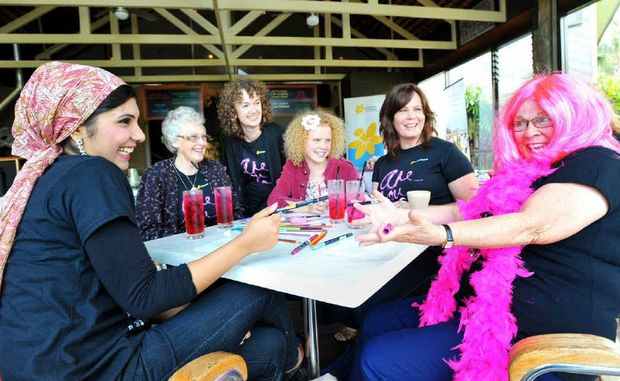 Amna Aslem, Jennifer Lock, Ruth Gollan, Charlotte Bedford, Brenna Smith and Kathy Derrett enjoy a good chat over some pink lemonade.