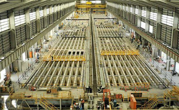 The new carbon bake, furnace 4, under construction at Boyne Smelter Alumina, Boyne Island.