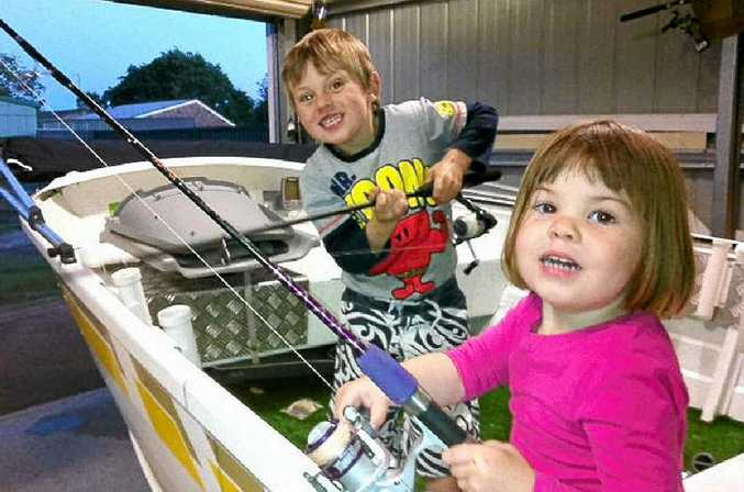 Clayton and Stella excited for their fishing adventures.