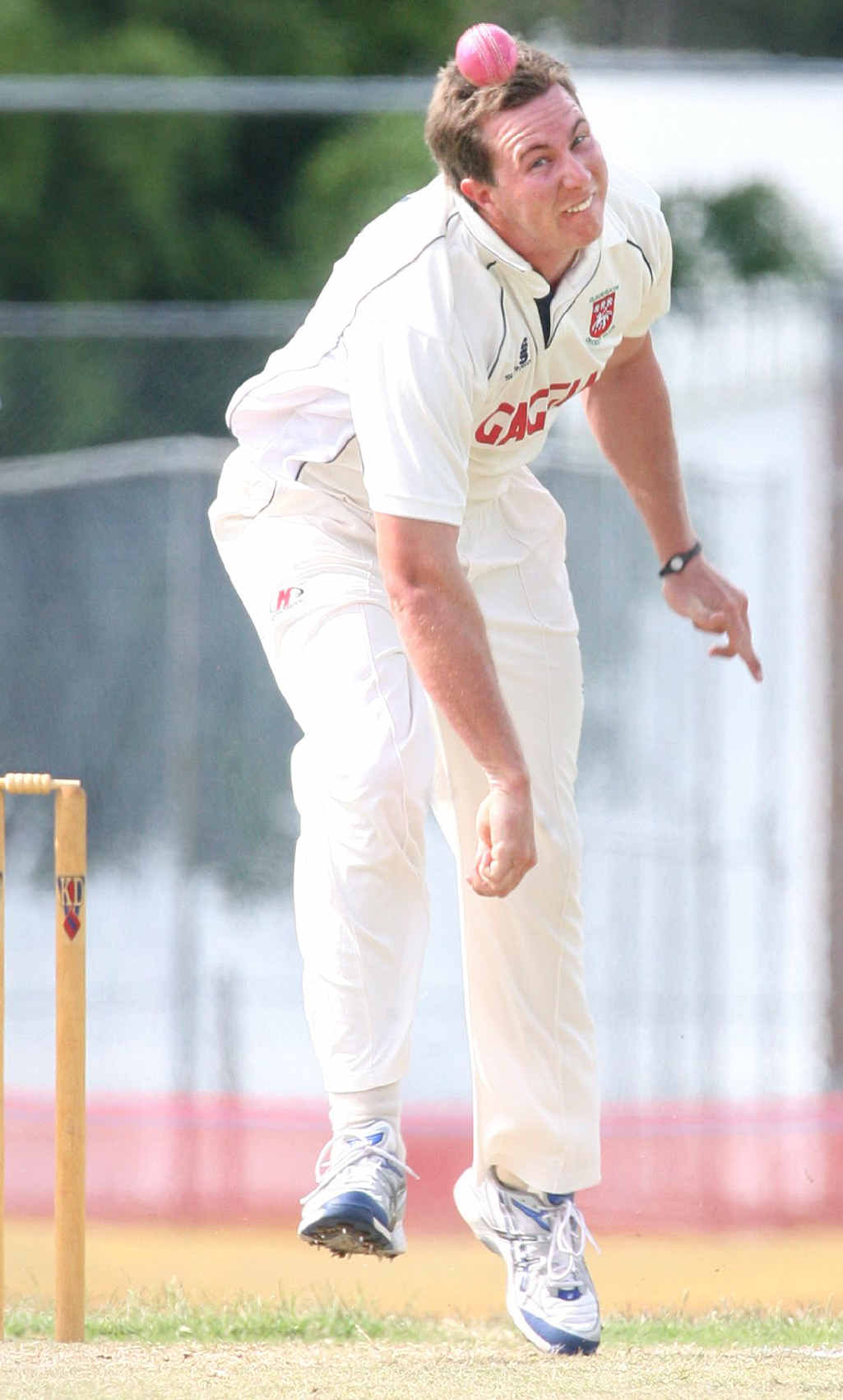 Laidley bowler Ben Gibson poses an early threat to Swifts in the first round of fixtures.