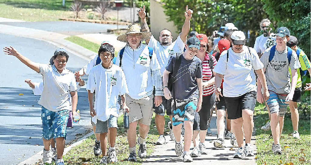 Some of the 100 people who took part on The Shack Community Centre's walk for the homeless.