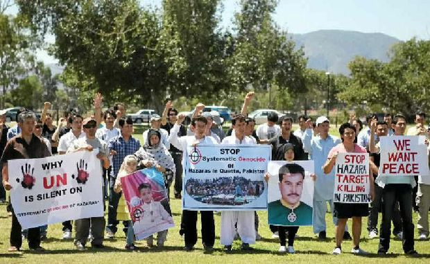 Members of the Rockhampton Afghan community take part in a worldwide day of protest against the brutal killing of innocent Hazara ethnic people.