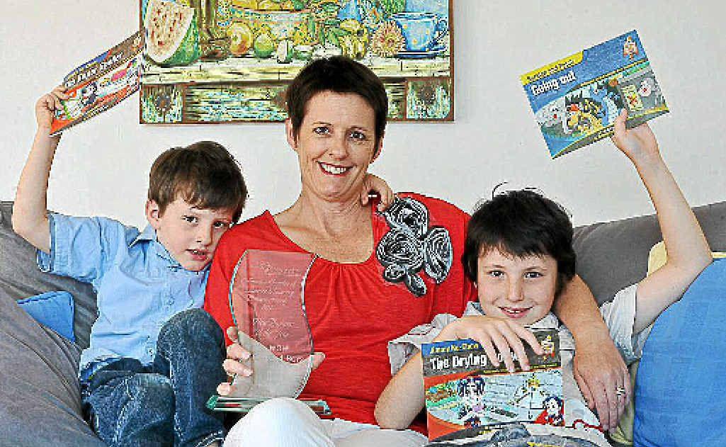 Angela Bueti with sons Oscar and Archie.