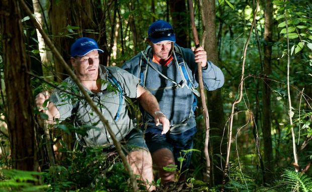Peter Phillips and Jason Bake hiking through the Coffs Coast bush. The Bicentennial National Trail allows walkers, riders and cyclists to make their way through the length of the East Coast of Australia.