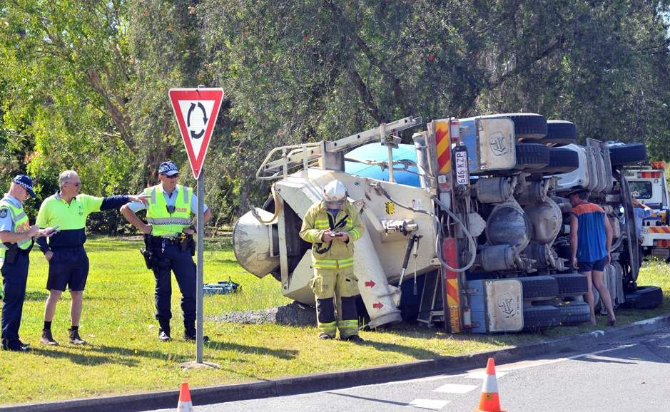 A concrete truck rolled over on in Yandina, no-one was injured.