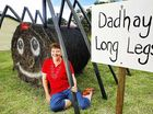 Shirley Ernst with her hay sculpture Dad'hay' Long Legs in Kalbar.