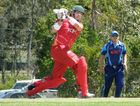 Ben O'Connell lashes out for Flames during Sunday's Twenty20 Challenge win over Heat at Redlands.