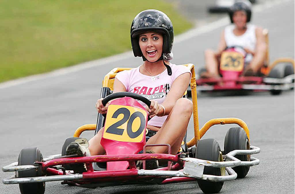 Racers enjoy themselves at the Big Kart Track.