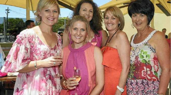 Enjoying the breast cancer awareness lunch at Fitzy's are (from left) Julie Hedge, Melinda Wendland, Tracey O'Connor, Cathy Rookas and Leanne Bunter.