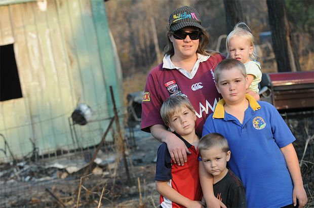 Sandra Vickery and her children (front left) Matthew Vickery, 8, Andy Bagust, 3, Riley Masters, 10, and Mikayla Bagust, 18 months are upset they have lost everything in storage on Upton Road, Burua.