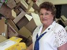 Volunteer Pam Casey adds another empty box to the pile at Maryborough's QUOTA Bookfest.