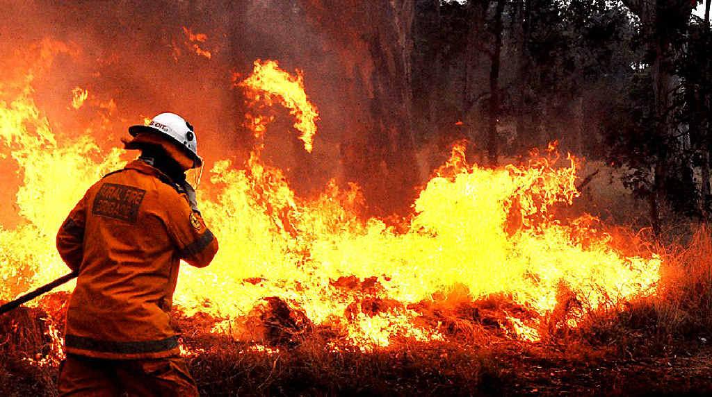 A bushfire is burning on Moreton Island.