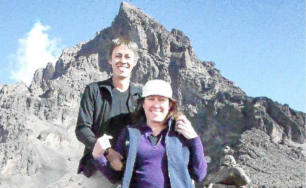 Mark and Joanne Skinner at 4,400m on Day 3 of the Kilimanjaro climb. Mawenzi Peak is in the background.
