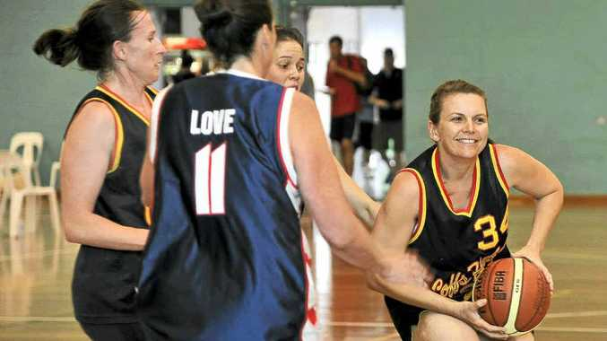 Suns' Cristi Jufferman in action during the A-grade women's final between Coffs Harbour Suns and the Hearts at the Jacaranda Basketball Carnival.