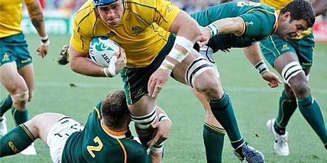 Australian captain James Horwill on the charge against the Springboks.