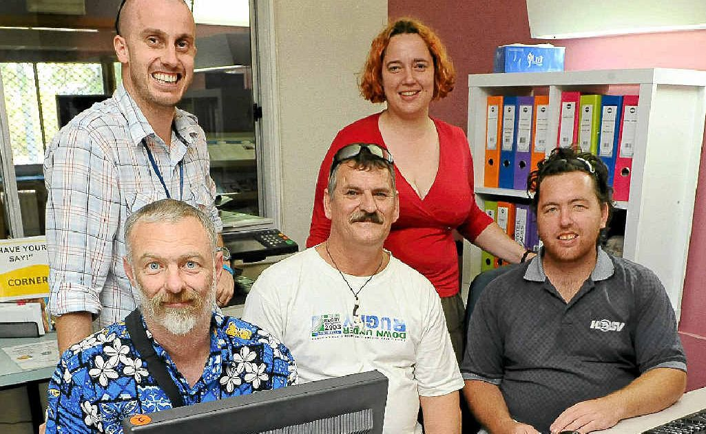 Kevin, Mark and Adam (front), Business Unit co-ordinator Andy Chappell and Kelly (back) are hoping to increase community awareness of mental health issues.