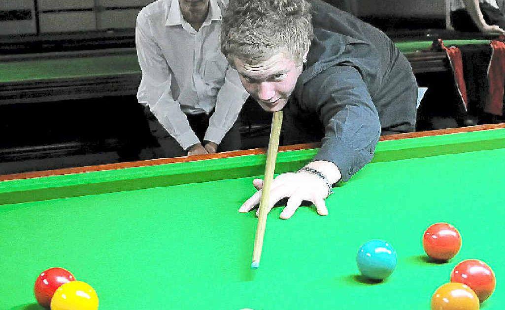 Australian under-21 snooker champion Kurt Brown on his way to winning the Wide Bay Snooker Championship.