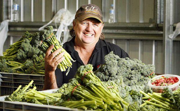 Farmer Tim Linnan at Maragi Farm, Lake Clarendon near Gatton, has had success farming broccolini.