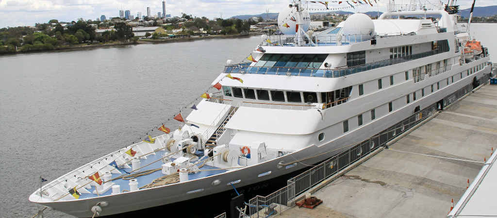 PICTURE PERFECT: (from top) MV Orion docks at Brisbane Port's passenger terminal. Captain Vincent Taillard on the bridge, suites and stateroom choices, the sundeck jacuzzi and the Constellation restaurant.