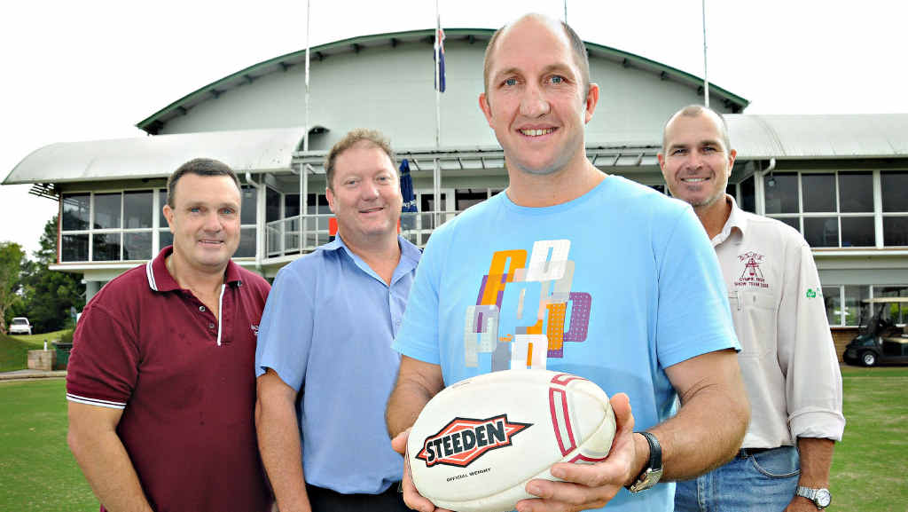 Gympie league identities jumping on board the Men of League Foundation are (front) Darren Burns, (back, from left) Glen Tierney, Ross Groundwater and Bob Leitch.