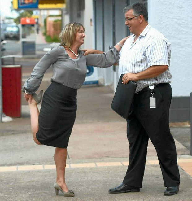 Narelle Pearse gets a work-out from personal trainer Rene Monteith, as she prepares for Saturday's Walk to Cure Diabetes.