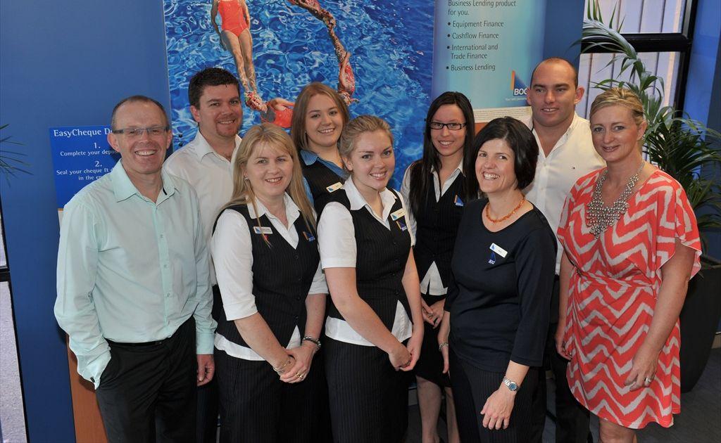 Bank of Queensland Maroochydore staff members (left to right) Laurie Clarke, Trent Stevens, Tania Carter, Lydia Watson, Johanne Schlaer, Shari Dalgleish, Rachel Stock, Trent Anderson and Debbie Battaglini-Clarke.