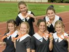 The Glennie School's successful Queensland Schools Knock Out Athletics Championships team (back row from left) Anthea Moodie and Bronte Keating and (front from left) Emma Meyer, Sophie Macansh, Katie Gray and Shenae Ciesiolka.
