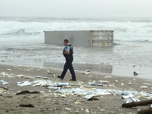Containers wash up on NZ beach