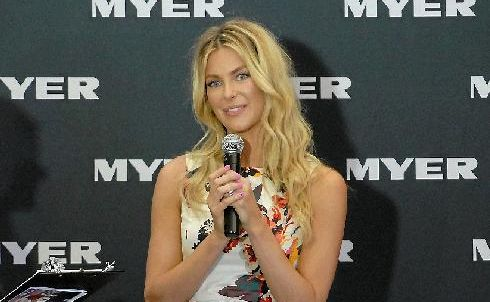 Former Miss Universe and Myer ambassador Jennifer Hawkins drew a crowd when she officially opened the new Myer store on Saturday.